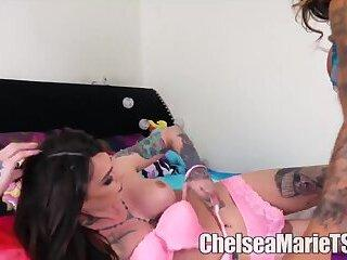 shemale nin blue dress femboy gape